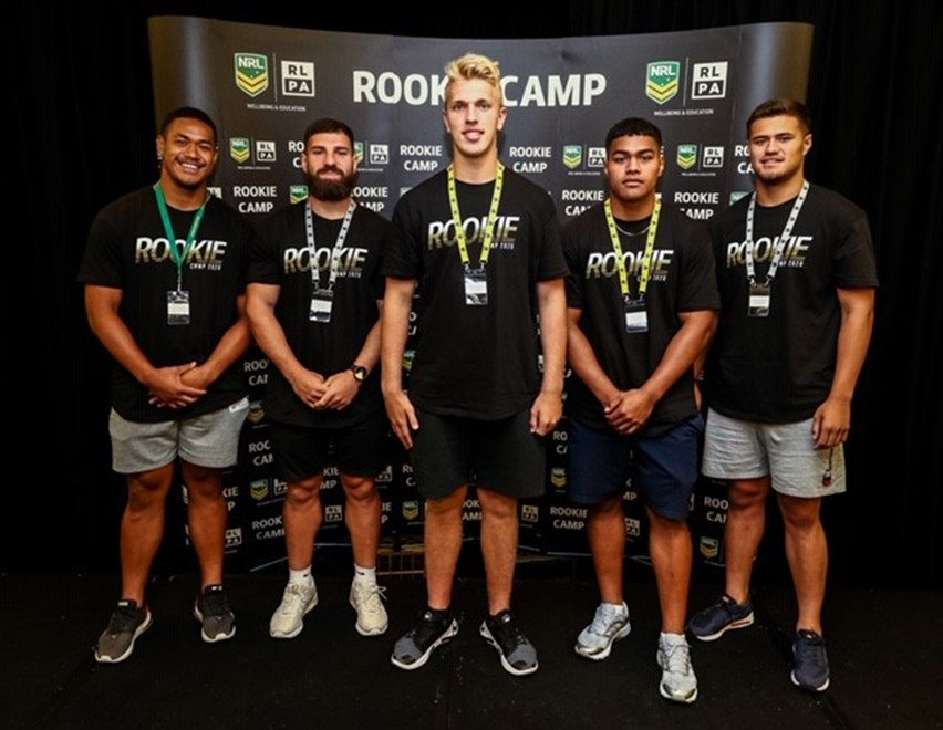 Manly players (l-r) Sione Fainu, Abbas Miski, Ben Trbojevic, Alec Tuitavake, and Josh Schuster at the NRL Rookie Camp. Photo: David Hossack (PureLight Photography)