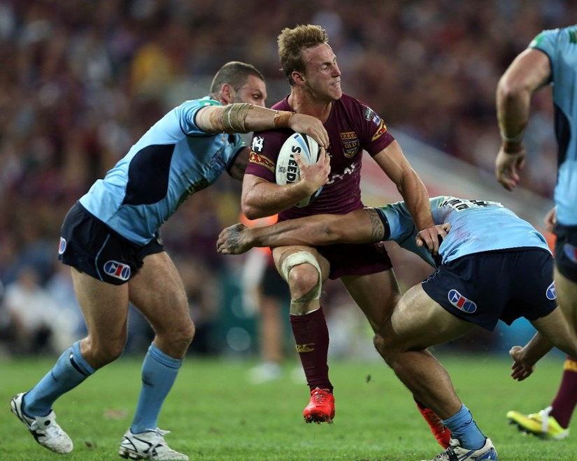 Digital Image by Robb Cox ©nrlphotos.com: Daly Cherry-Evans :Representative Rugby League;  QLD V NSW State of Origin at Suncorp Stadium, Brisbane. Wednesday the 28th of May 2014.