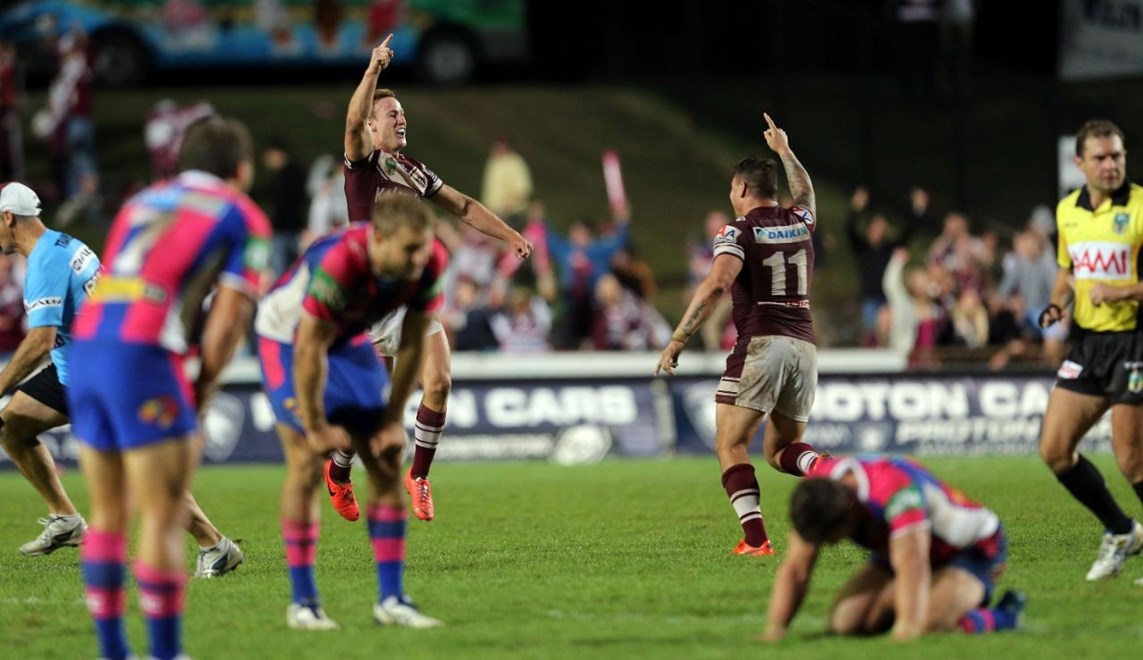Digital Image Grant Trouville © nrlphotos.com : Manly Go off after Daly Cherry-Evans kicks the winning field goal  : NRL Rugby League Round 10 - Women in League Round, Cronulla Sharks v Wests Tigers at Remondis Stadium Saturday 17th of May 2014.