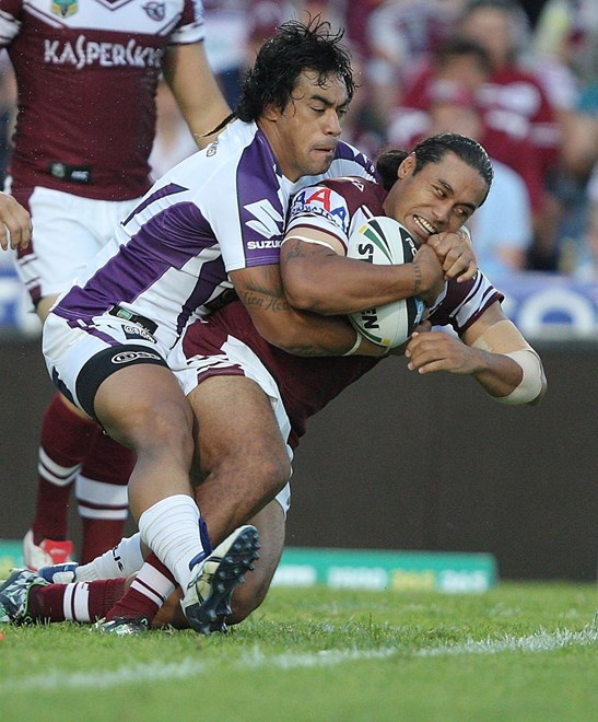 Steve Matai : NRL Rugby League - Round 1. Manly-Warringah Sea Eagles V Melbourne Storm at Brookvale Oval Saturday the 8th of March 2014 . Digital Image by Robb Cox nrlphotos.com