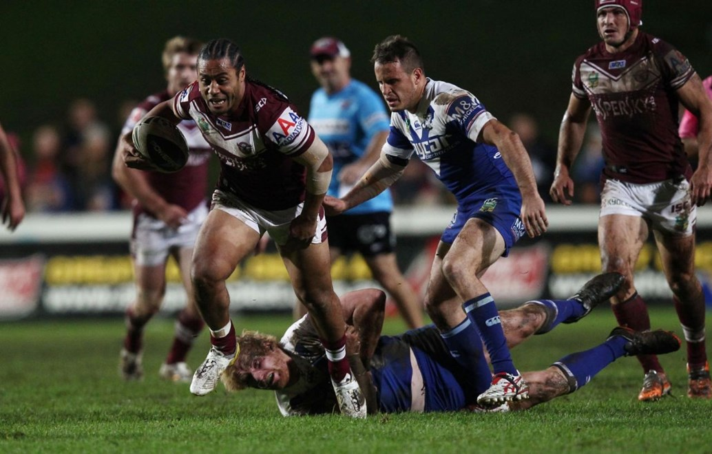 Photo by Colin Whelan copyright © nrlphotos.com :     Try scorer, Steve Matai skips away from James Graham and Josh Reynolds                         NRL Rugby League, Round 13 Manly Warringah Sea Eagles v Sydney Bulldogs at Brookvale Oval, Friday June 6th 2014.