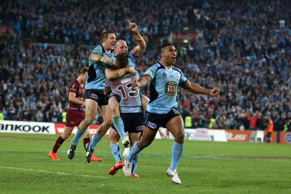 Digital Image by Brett Crockford © nrlphotos.com:	     New South Wales celebrate the win and the series  NRL, Rugby League, State of Origin 2, @ ANZ Stadium, Homebush, NSW, Wednesday June 18th, 2014.