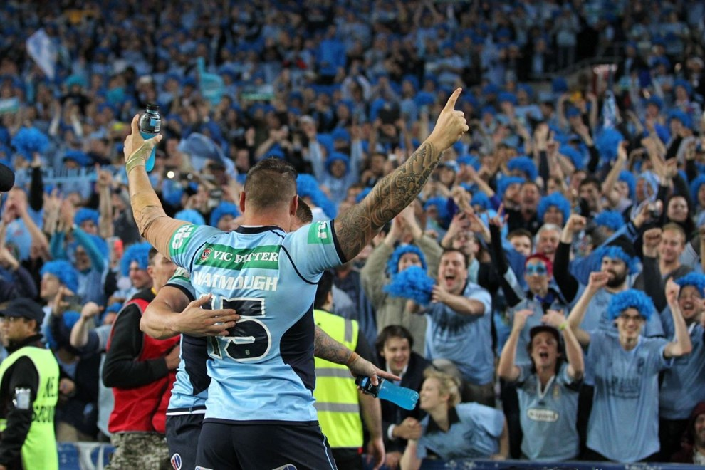 Digital Image by Brett Crockford © nrlphotos.com:	     Anthony Watmough celebrates  NRL, Rugby League, State of Origin 2, @ ANZ Stadium, Homebush, NSW, Wednesday June 18th, 2014.