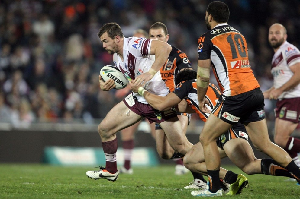 Brenton Lawrence: NRL Round 20, Tigers v Manly, Campbelltown Stadium, Monday 29th July, 2013. Photo: Robb Cox/Action Photographics