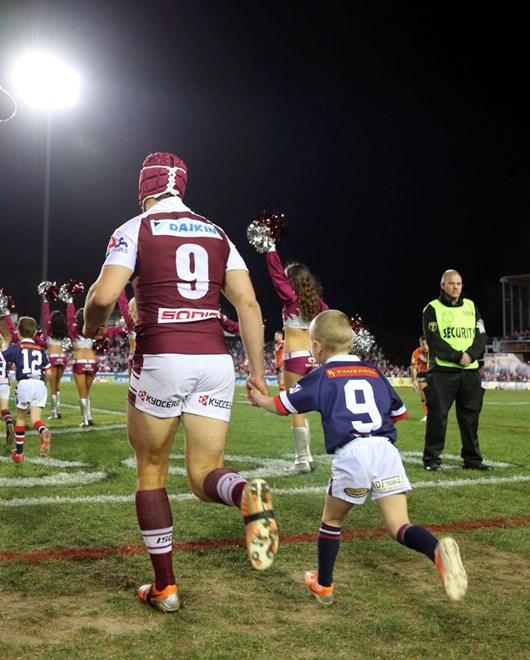 Digital Image Grant Trouville © nrlphotos.com : Matt Ballin runs out  : Manly Sea Eagles v Wests Tigers at Brookvale Oval Friday the 11h of July 2014.