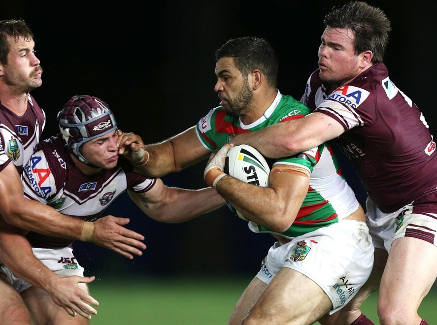 Digital Image by Robb Cox © nrlphotos.com : Greg Inglis is mobbed : NRL Rugby League - Round 2 - Manly Warringah Sea Eagles V South Sydney Rabbitohs at Central Coast Stadium, Friday the 14th of March 2014.