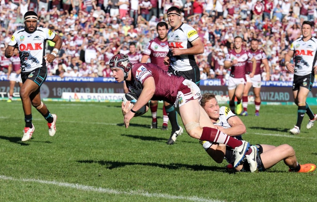 Digital Image Grant Trouville  © nrlphotos.com : Jamie Buhrer scores   : NRL Rugby League Round 25 - Manly Sea Eagles v Penrith Panthers at Brookvale Oval Sunday the 31st of August 2014.