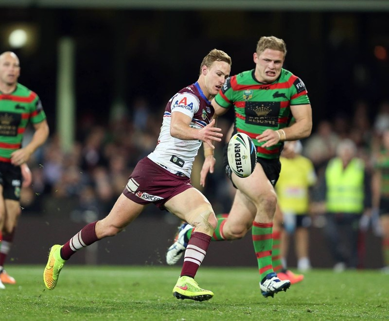 Digital Image by Robb Cox ©nrlphotos.com: Daly Cherry Evans kicks :NRL Rugby League - Round 22, South Sydney Rabbitohs V Manly Warringah Sea Eagles at the SCG, Friday August 8th 2014.