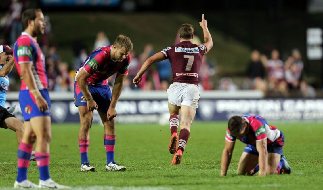 Digital Image Grant Trouville © nrlphotos.com : Manly Go off after Daly Cherry-Evans kicks the winning field goal.
