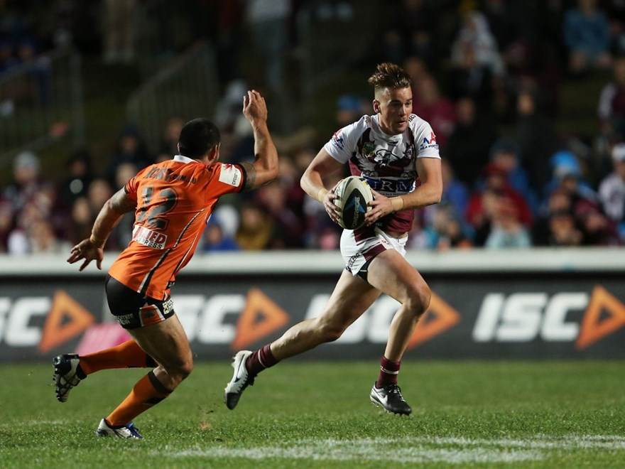 Digital Image by Robb Cox ©nrlphotos.com: Clinton Gutherson :NRL Rugby League - Manly Warringah Sea Eagles V Wests Tigers at Brookvale Oval, Friday the 11th of July 2014.