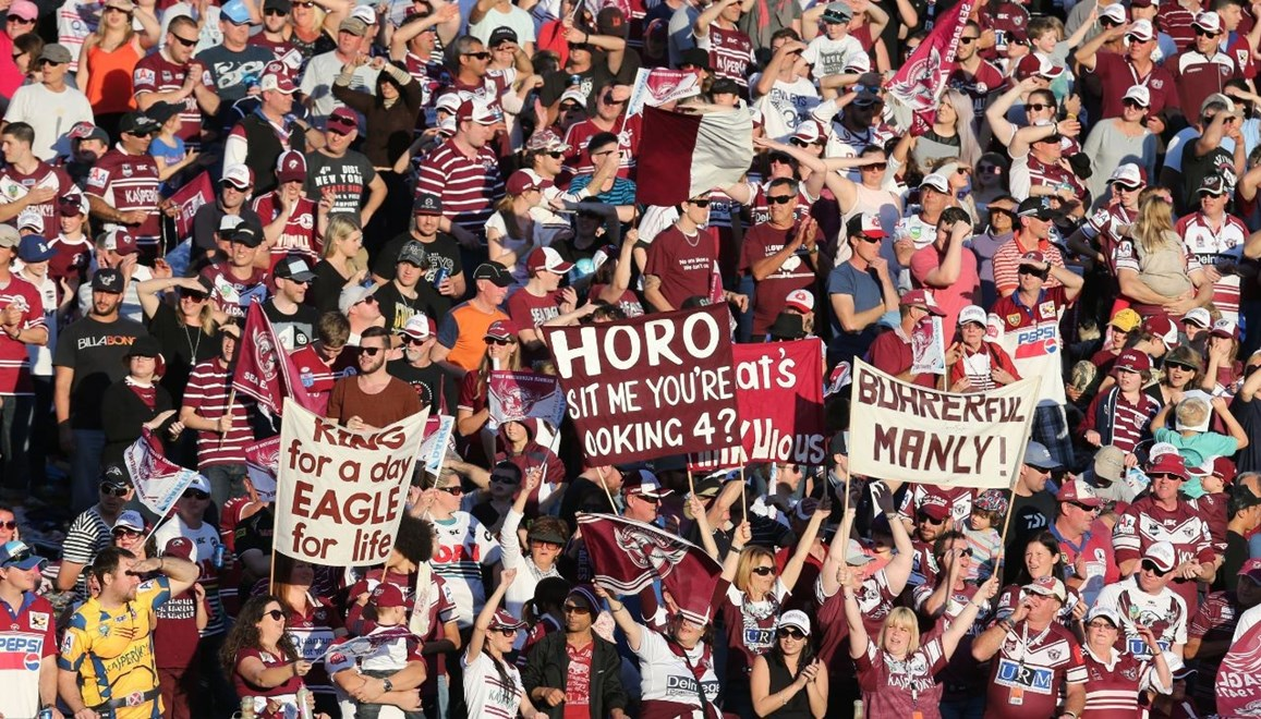 Digital Image Grant Trouville  © nrlphotos.com : Manly Fans celebrtaes  : NRL Rugby League Round 25 - Manly Sea Eagles v Penrith Panthers at Brookvale Oval Sunday the 31st of August 2014.