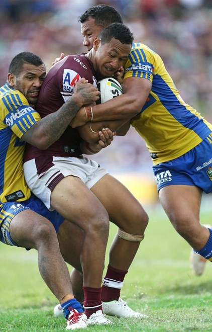 Digital Image by Robb Cox ©nrlphotos.com : Tony Satini : NRL Rugby League - Round 3; Manly-Warringah Sea Eagles V Parramatta Eels, Brookvale Oval.  Sunday the 23rd of March 2014.