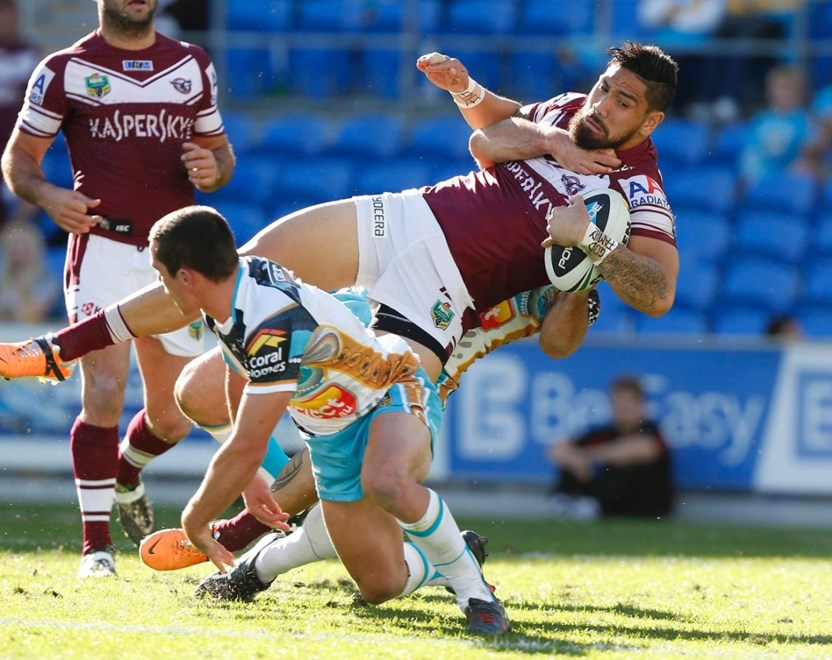 Photo by Charles Knight copyright © nrlphotos.com : Jesse Sene-Lefao - NRL Rugby League, Round 23 Gold Coast Titans v Manly Sea Eagles at Cbus Stadium, Sunday August 17th 2014.