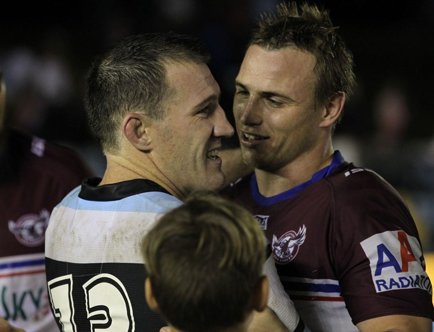 Photo by Colin Whelan copyright © nrlphotos.com :     Jamie Buhrer congratulated Paul Gallen for the Origin win, after the match                          NRL Rugby League, Round 15 Cronulla Sutherland Sharks v Manly Warringah Sea Eagles at Cronulla, Saturday June 21st 2014