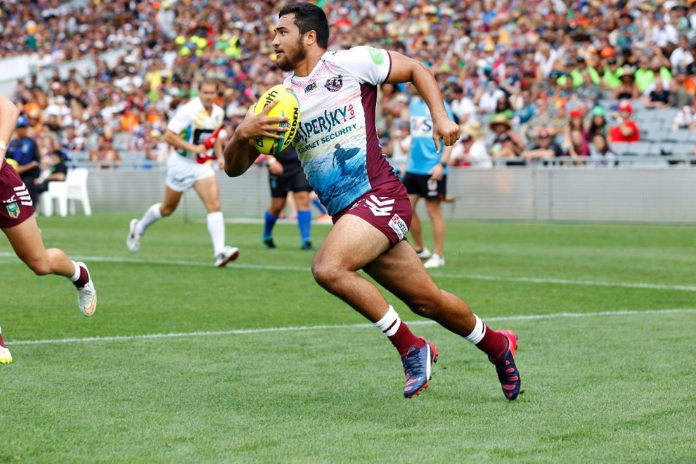 Sea Eagles Peta Hiku croses the line to score a try:           NRL Auckland Nines, Game 10 Sea Eagles v Dragons at Eden Park, Saturday January 31st. Digital image by Shane Wenzlick, copyright nrlphotos.com