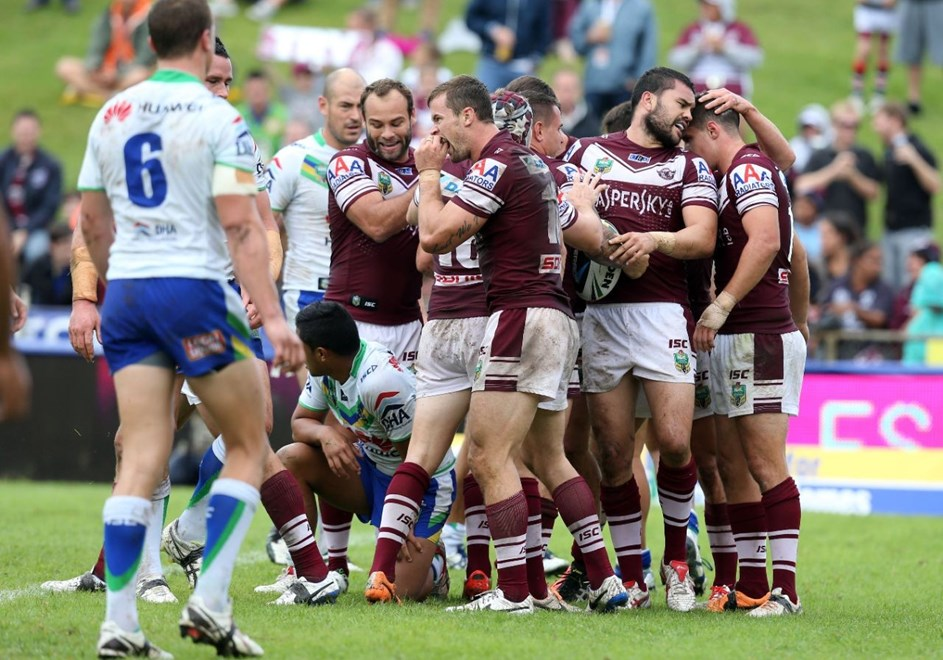 Digital Image Grant Trouville © nrlphotos.com :  Manly Celebrate after Watmough scores : NRL Rugby League Round 8 - Manly Sea Eagles v Canberra Raiders at Brookvale Oval sunday the 27th April 2014.