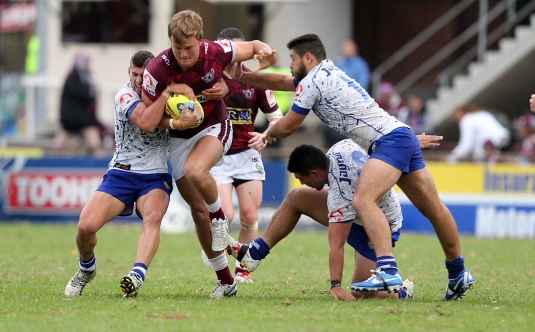 :Digital Image by Grant Trouvile © NRLphotos  : 2015 NRL Round 2 - Manly Sea Eagles v Bulldogs at Brookvale, Friday 20th 2015.