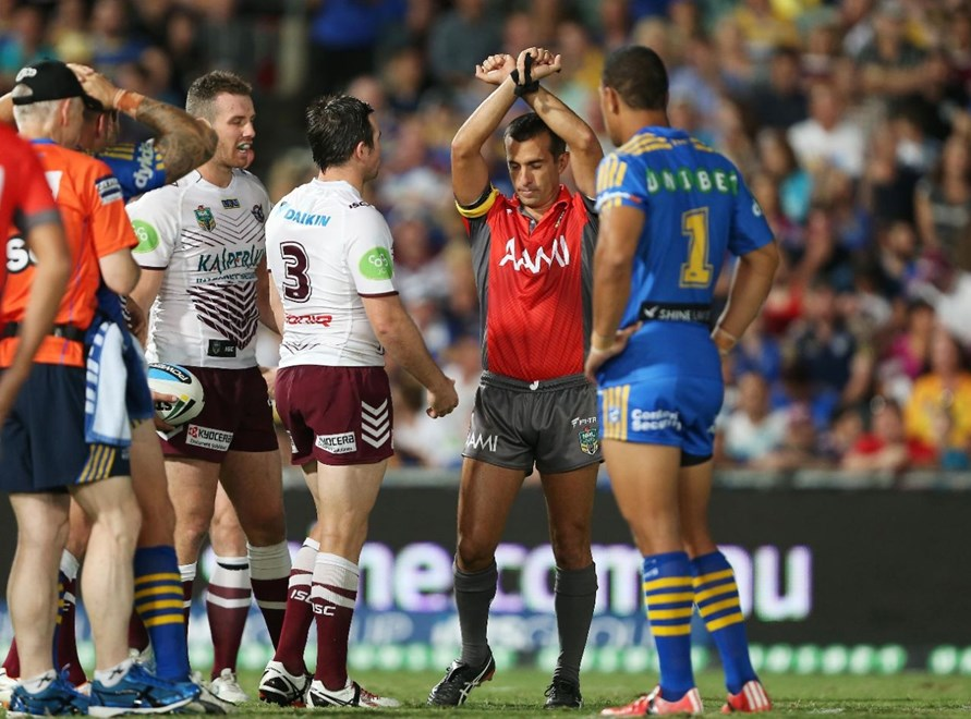 Matt Cecchin places James Hasson on report for lifting knees in a tackle: : Digital Image by Robb Cox ©nrlphotos.com:  :NRL Rugby League - Parramatta Eels V Manly Sea Eagles at Pirtek Stadium, Friday March 6th 2015.