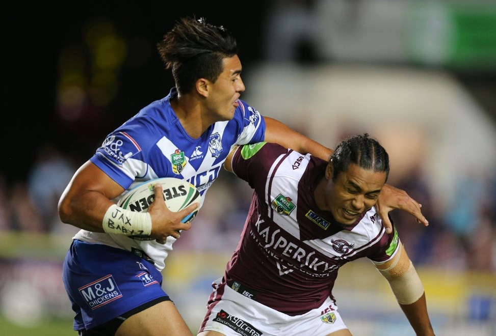 Tim Lafai v Steve Matai  :Digital Image by Grant Trouvile © NRLphotos  : 2015 NRL Round 2 - Manly Sea Eagles v Bulldogs at Brookvale, Friday 20th 2015.