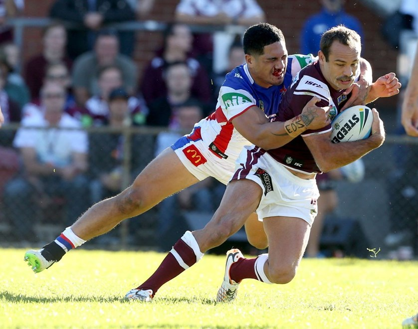 Digital Image by Anthony Johnson copyright © nrlphotos.com:  Brett stewart  : 2015 NRL Round 9 - Manly Warringah Sea Eagles vs Newcastle Knights at Brookvale Oval, Sunday May 10th 2015
