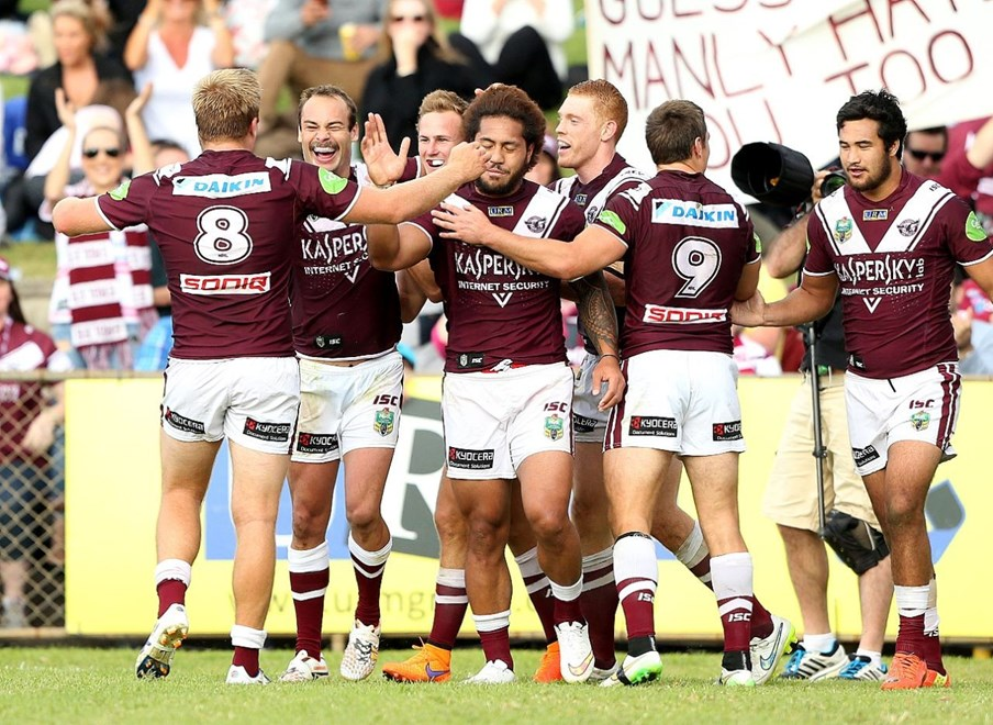 Digital Image by Anthony Johnson copyright © nrlphotos.com:  Brett stewart try : 2015 NRL Round 9 - Manly Warringah Sea Eagles vs Newcastle Knights at Brookvale Oval, Sunday May 10th 2015