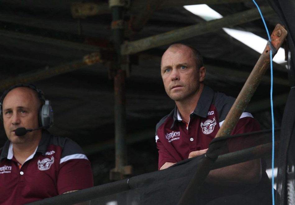 :	Digital Image by Colin Whelan copyright © nriphotos.    Geoff Toovey                     NRL Rugby League, Manly Warringah Sea Eagles v Canberra Raiders at Lavington Sports Ground, Saturday April 4th 2015.