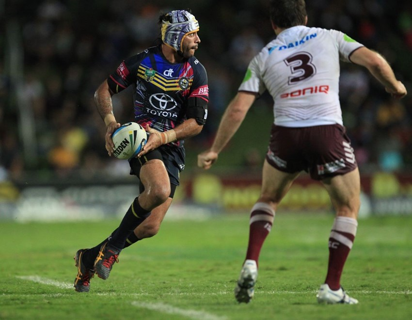 :		Digital image by Colin Whelan © copyright nrlphotos.com       Johnathan Thurston looks to pass              NYC  Rugby League, Round 12, North Queensland Cowboys v Manly Sea Eagles at Townsville, Saturday May 30th 2015.