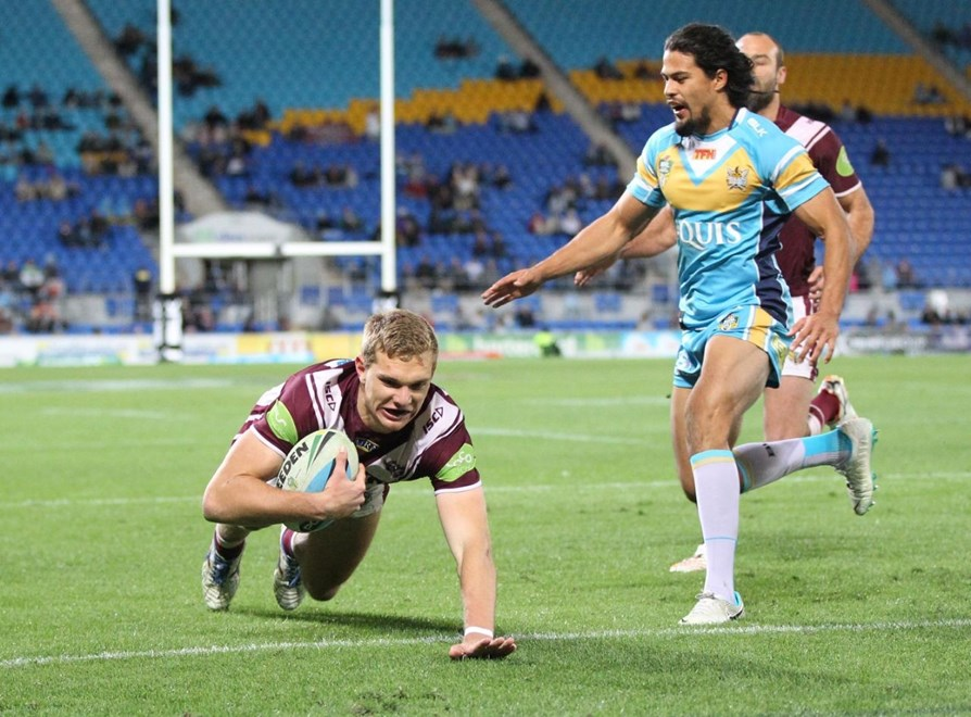 Tom Trbojevic scores an early try : Digital Image by Charles Knight copyright © NRLphotos. NRL Rugby League, Gold Coast Titans v Manly Sea Eagles at Cbus Super Stadium, Gold Coast, July 13th, 2015.