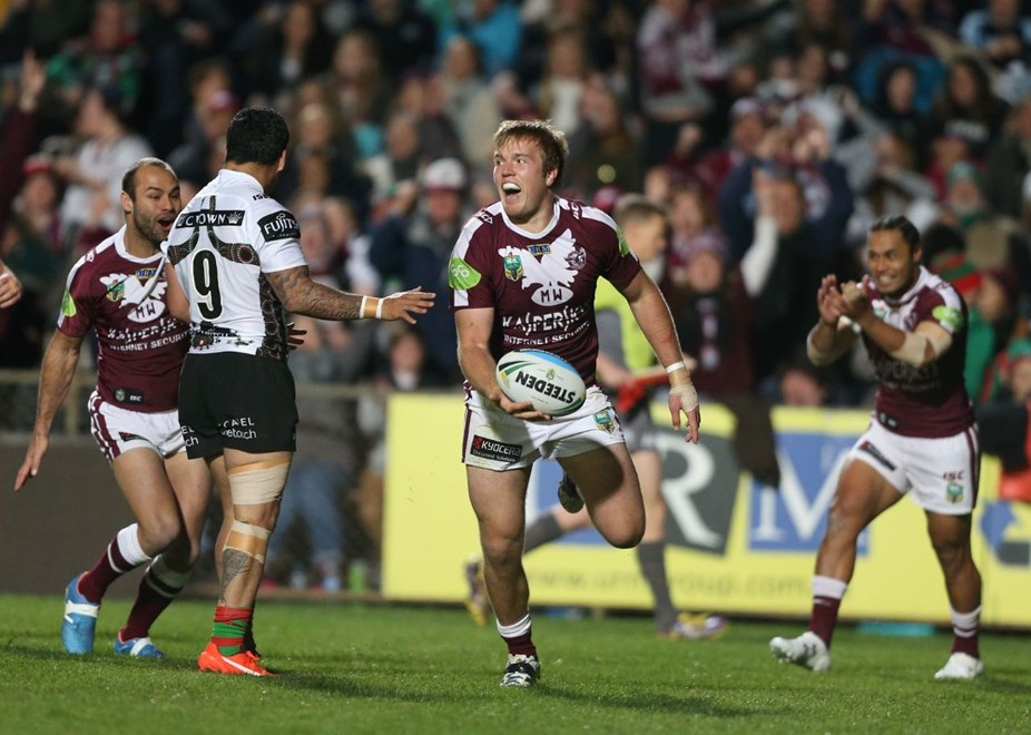 Digital Image by Anthony Johnson copyright © nrlphotos.com:  Jake Trbojevic try : 2015 NRL Round 22 -   Manly Sea Eagles vs South Sydney Rabbitohs at Brookvale Oval Friday August 7th 2015
