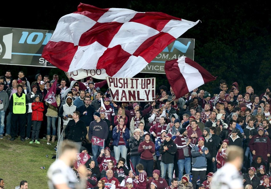 Digital Image by Anthony Johnson copyright © nrlphotos.com:  Manly Fans : 2015 NRL Round 22 -   Manly Sea Eagles vs South Sydney Rabbitohs at Brookvale Oval Friday August 7th 2015