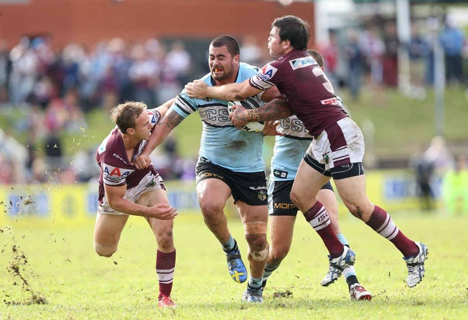 Digital Image by Robb Cox ©nrlphotos.com: Andrew Fifita :NRL Rugby League - Round 6; Manly-Warringah Sea Eagles V Cronulla-Sutherland Sharks at Brookvale Oval, Sunday the 13th of April 2014.
