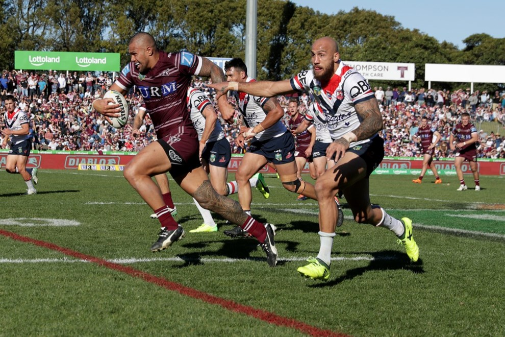 Round 22 NRL Manly Sea Eagles vs Sydney Roosters at Lottoland . Picture: NRL Photos/Gregg Porteous