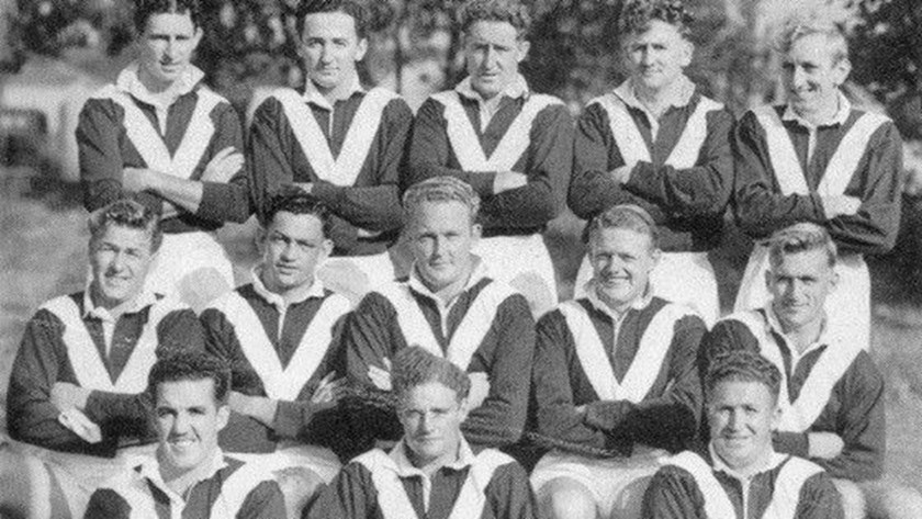 Manly's inaugural 1947 first grade team Back row (l-r) C 'Kelly' McMahon, Merv Gillmer, Keith Kirkwood, Harry Grew, Johnny Bliss; Middle row (l-r) Jim Hall, AJ 'Bert' Collins, Max Whitehead (Captain), Mackie Campbell, Jim Walsh; Front row (l-r) Ern Cannon, Gary Maddrell, Pat Hines.